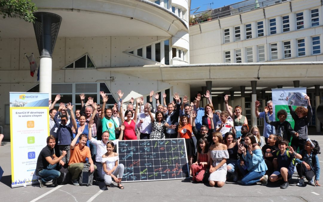 Anne Hidalgo et la coopérative EnerCit'IF ont lancé la première centrale solaire citoyenne de Paris